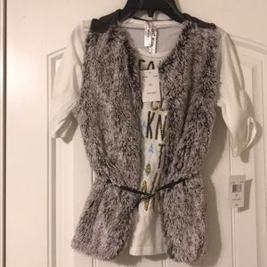 Knitworks girls shirt with faux fur vest